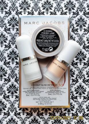Подарочный набор marc jacobs coconut glow on the go : хайлайтер , праймер , пудра