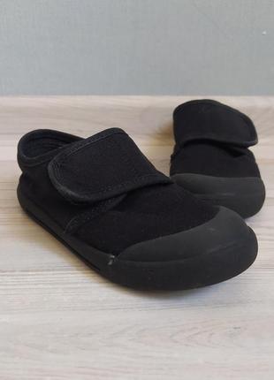 Детские чёрные мокасины кеды тапочки george 18см