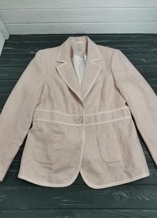 Шикарный льняной пиджак пудрового цвета