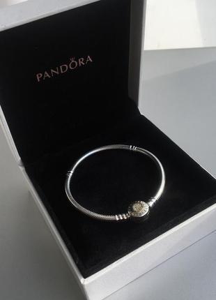 Серебряно-золотой браслет pandora (оригинал - арт. 590741cz-18)