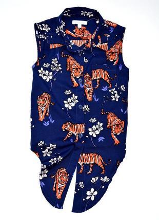 Bluezoo яркая шифоновая блуза -топ в принт тигры. 7 лет
