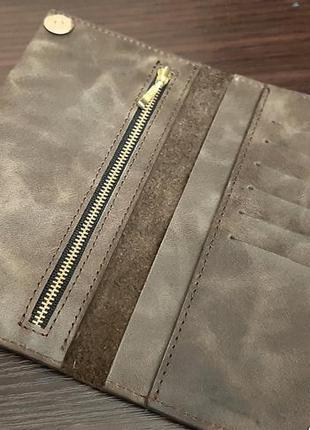 Кожаный кошелек портмоне коричневый мужской бумажник