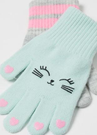 Перчатки для девочки h&m англия 1-8 лет трикотажные набор из 2-х пар.
