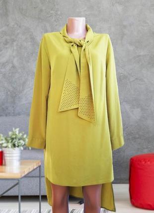 На вторую вещь скидка -50% платье   оливкового горчичного цвета  асимметричное
