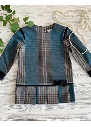 Детское платье трикотаж lilu зеленая клетка 92-98р.