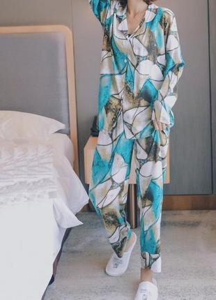 Новая пижама из вискозы, натуральная ткань, красивый принт, роскошная, комплект для сна🥝