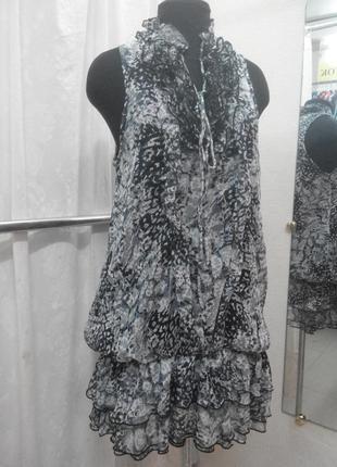 Шифоновое платье туника с заниженной талией