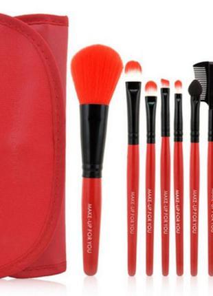 Кисти для макияжа набор 7 шт в футляре красный