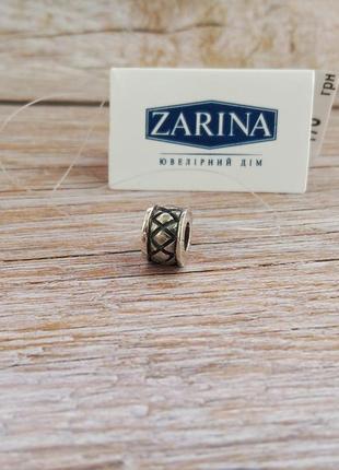 Серебряный шарм, бусина для браслета в стиле пандора серебро 925 бочонок разделитель