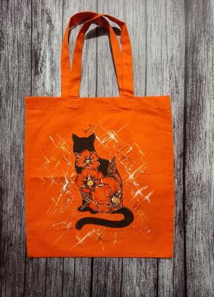 Сумка-шопер, эко-сумка, ручная роспись
