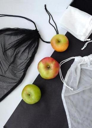"""Экомешочки, набор эко мешочков """"white/black"""" , фруктовки, мішечки, торбинки zero weste"""