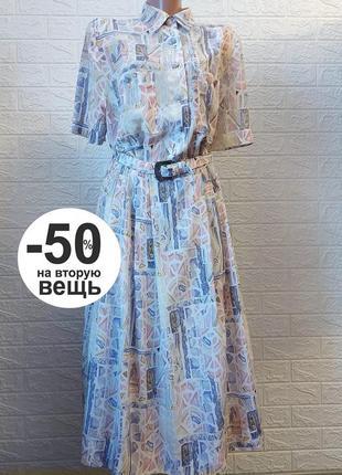 На вторую вещь скидка -50%  красивое платье плиссе  на поясе, принт  l- xl