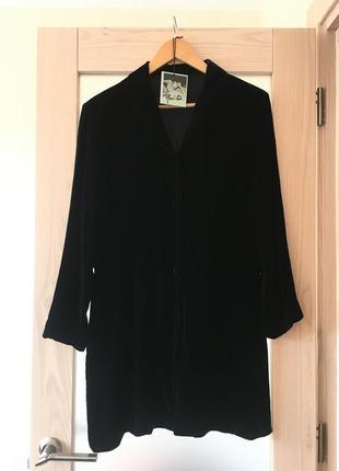 Велюровое бархатное черное платье туника рубашка халат вискоза с шелком люкс m&s