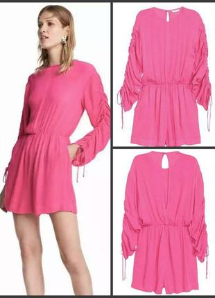 Ромпер комбинезон шорты розовый неон от h&m