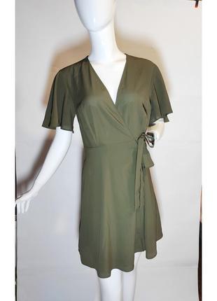 Шифоновое платье на запах в оливковом цвете хаки atmosphere