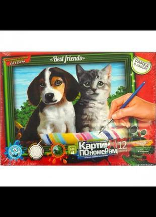 Картина по номерам собака кошка щенок котенок