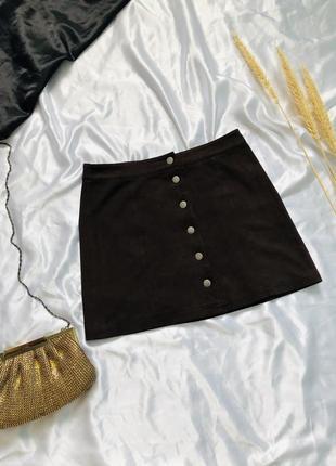 Замшевая мини юбка на кнопках, спідниця