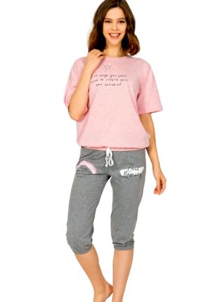 Пижама женская футболка,капри vienetta турция s,m,l,xl,хлопок