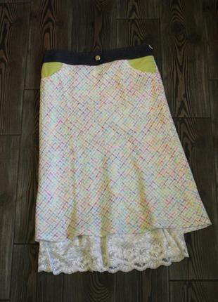 Твидовая юбка миди с кружевом от итальянского премиум бренда gai mattiolo