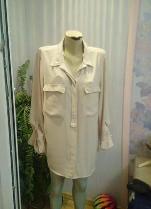 Бежево-серая блуза бренда h&m, 44р