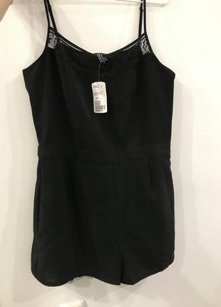 Летний комбинезон шорты с кружевом чёрный