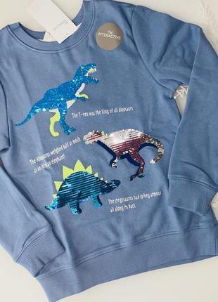 H&m реглан с начёсом, динозавры - паетки  - на 6-8 лет2 фото