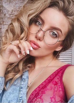 Круглые имиджевые очки с серебристой оправой как у гарри поттера