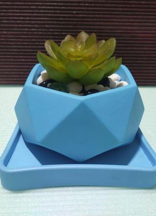 Горшок для цветов с подставкой,бетонное кашпо, кашпо под суккулент, кашпо под мох