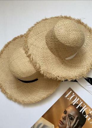 Шляпа женская соломенная с черным бантом
