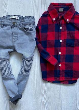 Комплект джинсы zara  и рубашка в клетку не 2-3года