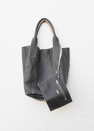 Большая кожаная  сумка шоппер мешок oakwood.
