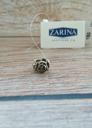 Шарм, бусина разделитель для браслета в стиле пандора серебро 925 роза цветочки
