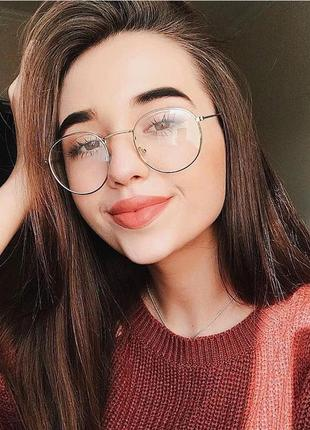 Имиджевые очки round в серебристой оправе