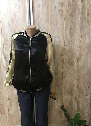 Куртка бомбер курточка мастерка двухсторонняя женская атласная фирменная scotch&soda