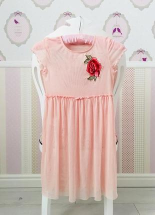 Платье тюль сеточка с вышивкой розы