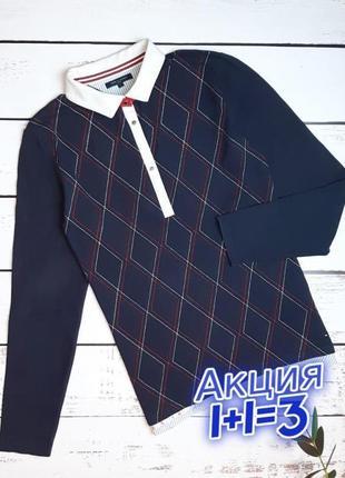 1+1=3 брендовый женский синий свитер поло tommy hilfiger, размер 46 - 48