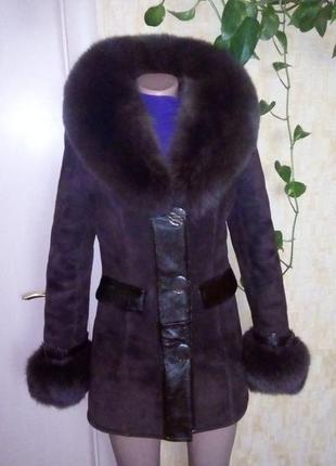 Шикарная натуральная дубленка с мехом песца/ шуба/ шубка/ полушубок/пуховик/куртка