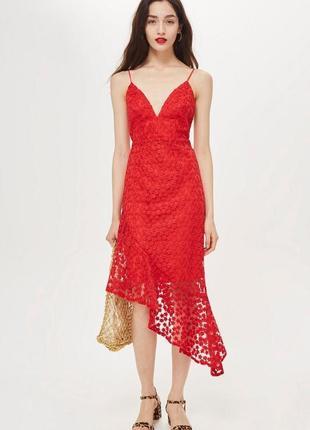 Червона мереживна сукня з асиметричним низом topshop
