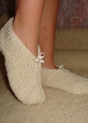 Тапочки, носки, следки шерстяные. hand made. ручная работа
