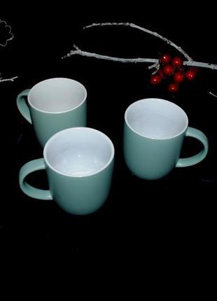 Набор большая чашка кружка 3 шт бирюзовый 375 мл дания чайные
