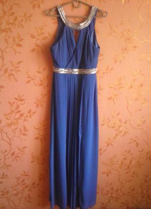 Стильное вечернее шифоновое платье в грецком стиле цвета електрик с бисером