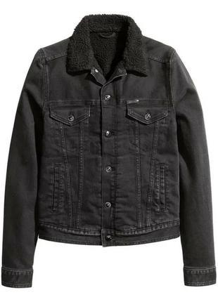 Шерпа теплая джинсовая куртка с мехом h&m s 165/84a
