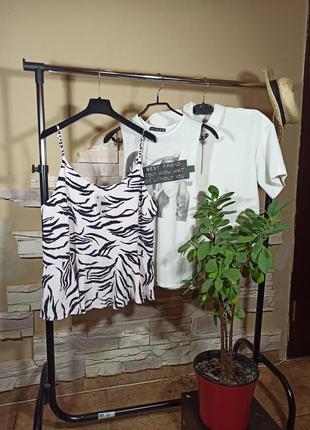 Эффектный топ зебра с воланом/кофточка/майка/блузка/блуза