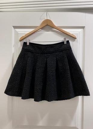 Черная короткая шерстяная юбка солнце united colors of benetton