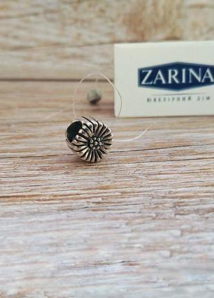 Шарм, бусина для браслета в стиле пандора серебро 925 цветочек