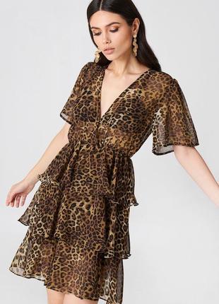 Леопардовое шифоновое платье na-kd s