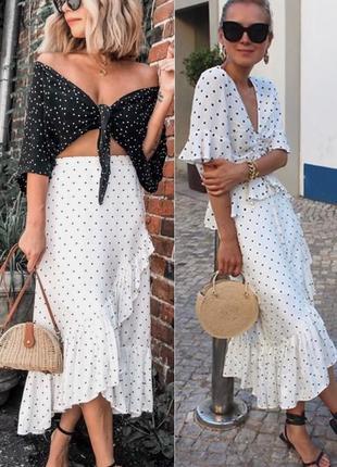 Красивая юбка-миди с рюшами в горох h&m