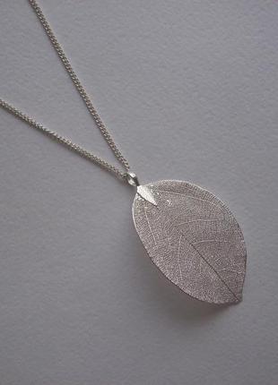 Колье ожерелье цепочка кулон лист листик подвеска