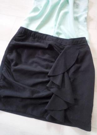 Юбка h&m чёрная рюши ткань модал