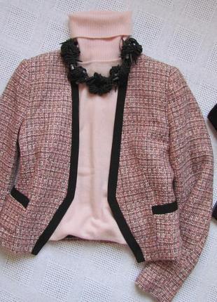 Шикарный укороченный пиджак без застёжки, размер m